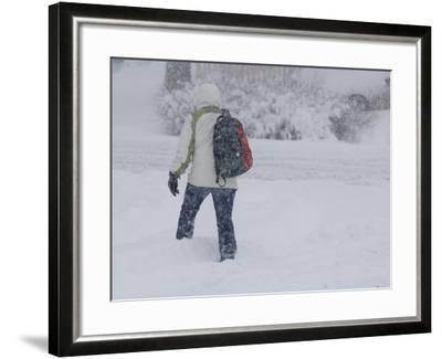 A Pedestrian Walks Through Deep Snow Wearing Cold Weather Clothing During a Winter Storm-Jon Van de Grift-Framed Photographic Print