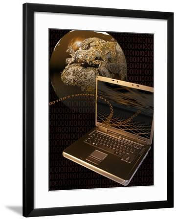 Worldwide Digital Communication Illustrated with a Notebook Computer, a Globe, and Binary Code-Carol & Mike Werner-Framed Photographic Print