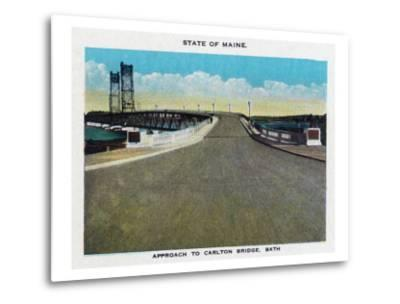 Bath, Maine, View of the Carlton Bridge Approach-Lantern Press-Metal Print