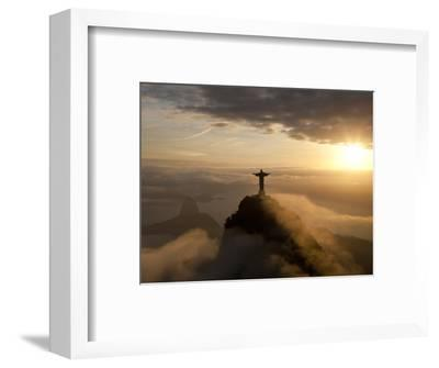 Statue of Jesus, known as Cristo Redentor (Christ the Redeemer), on Corcovado Mountain in Rio De Ja-Peter Adams-Framed Photographic Print