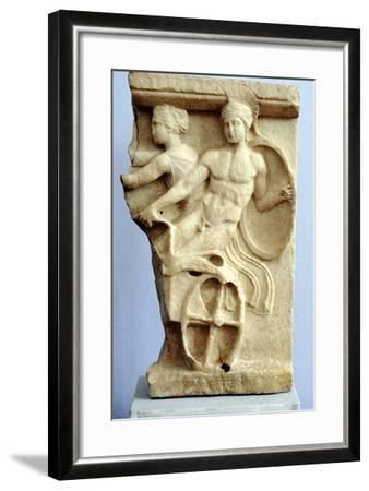 Stone Sculpture of Greek Warriors in a Chariot, C500 Bc--Framed Photographic Print