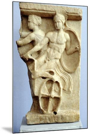 Stone Sculpture of Greek Warriors in a Chariot, C500 Bc--Mounted Photographic Print