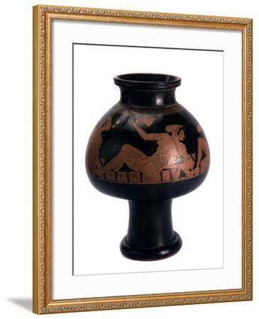 Red-Figure Psykter (Wine Coole) with a Symposium Scene, Ancient Greek, C505-C500 Bc-Euphronios-Framed Photographic Print