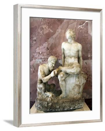 Pan and Satyr, Pan Removing a Splinter from a Satyr's Foot--Framed Photographic Print