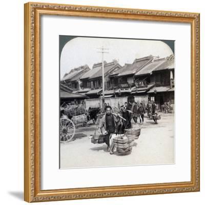 Coolies, Street Scene in Tokyo, 1896-Underwood & Underwood-Framed Photographic Print