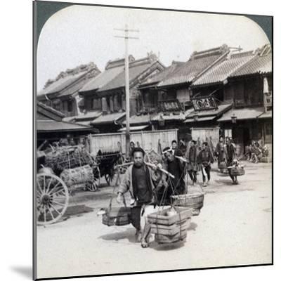 Coolies, Street Scene in Tokyo, 1896-Underwood & Underwood-Mounted Photographic Print