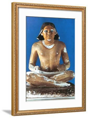Model of a Seated Scribe, Ancient Egyptian, 5th Dynasty, 2498-2345 Bc--Framed Photographic Print