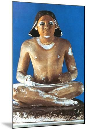 Model of a Seated Scribe, Ancient Egyptian, 5th Dynasty, 2498-2345 Bc--Mounted Photographic Print