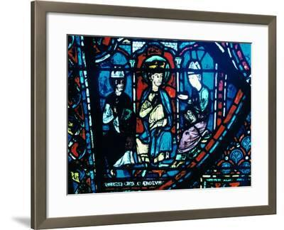 Constantine's Letter Presented to Charlemagne, Stained Glass, Chartres Cathedral, France, C1225--Framed Photographic Print