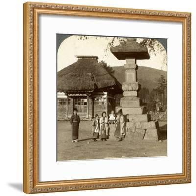 Children in the Playground of a Village School, Japan, 1904-Underwood & Underwood-Framed Photographic Print