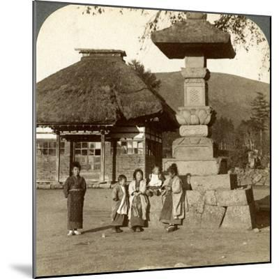 Children in the Playground of a Village School, Japan, 1904-Underwood & Underwood-Mounted Photographic Print