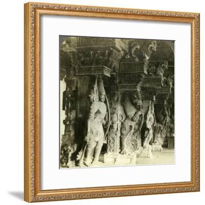 Pillars of a Hindu Temple, Madurai, India, C1900s-Underwood & Underwood-Framed Photographic Print