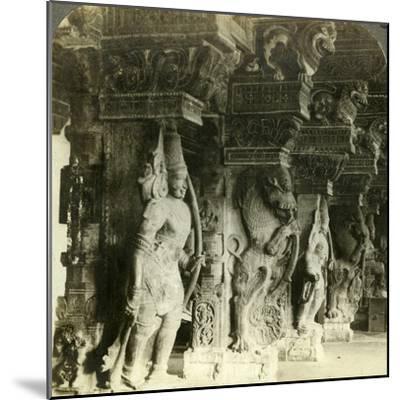 Pillars of a Hindu Temple, Madurai, India, C1900s-Underwood & Underwood-Mounted Photographic Print