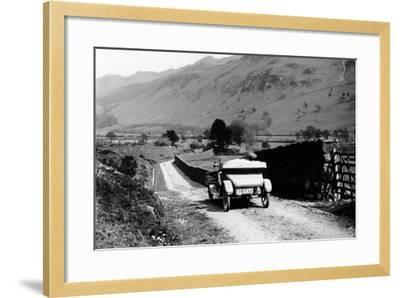 A Vintage Car Travelling Along a Lane Through the Lake District, Cumbria, 1920s--Framed Photographic Print