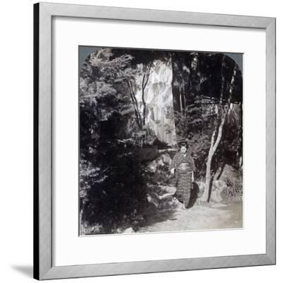Splashing Waters of a Waterfall at Yumoto, Japan, 1904-Underwood & Underwood-Framed Photographic Print