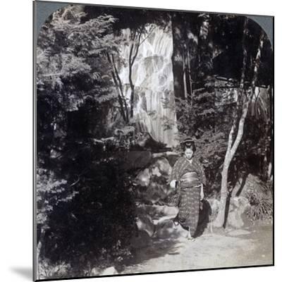 Splashing Waters of a Waterfall at Yumoto, Japan, 1904-Underwood & Underwood-Mounted Photographic Print