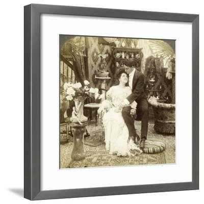 George Greatly Admires Ethel's Beautiful Complexion-Underwood & Underwood-Framed Photographic Print