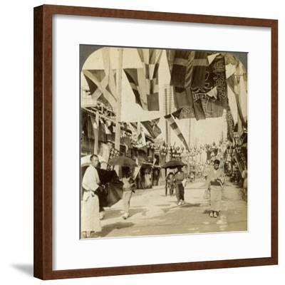Theatre Street, Osaka, Japan-Underwood & Underwood-Framed Photographic Print