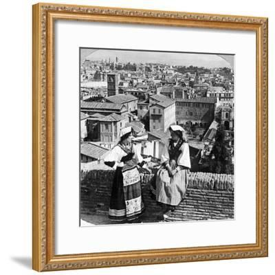 Two Women in Traditional Costume in Rome, Italy-Underwood & Underwood-Framed Photographic Print