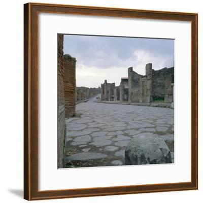 A Cobblestone Roman Road in Pompeii, Italy--Framed Photographic Print