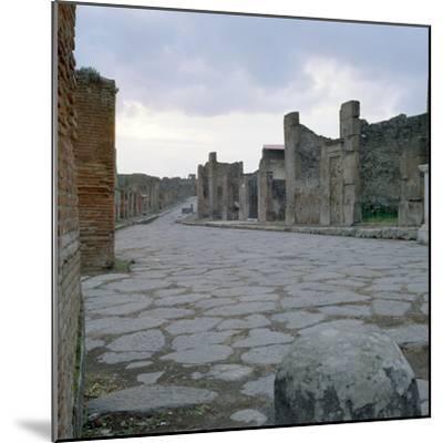 A Cobblestone Roman Road in Pompeii, Italy--Mounted Photographic Print