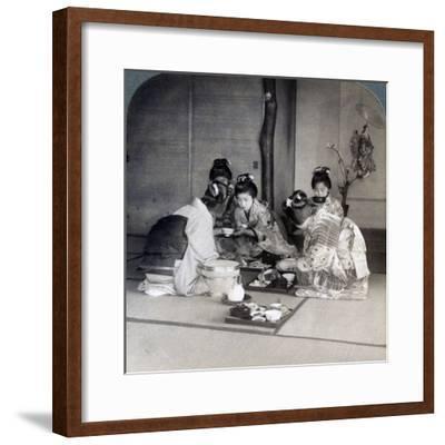 Geishas at Dinner, Tokyo, Japan, 1904-Underwood & Underwood-Framed Photographic Print