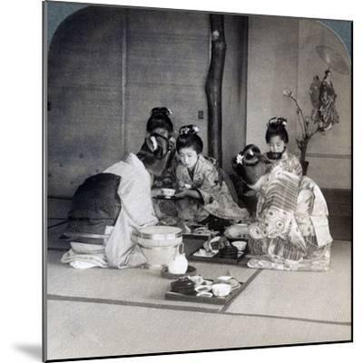 Geishas at Dinner, Tokyo, Japan, 1904-Underwood & Underwood-Mounted Photographic Print