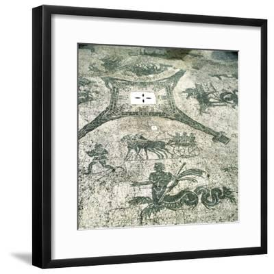 Mosaic, Carts Pulled by Mules with Travellers, Cisarii. C1st Century--Framed Photographic Print