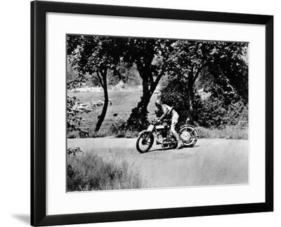 A Man on a Norton Bike Taking Part in the Belgian Grand Prix, 1924--Framed Photographic Print