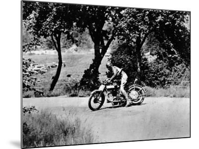 A Man on a Norton Bike Taking Part in the Belgian Grand Prix, 1924--Mounted Photographic Print