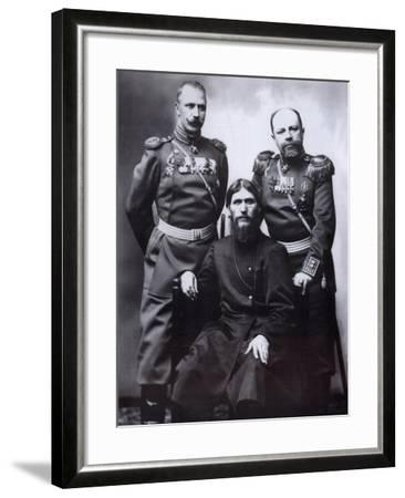 Grigori Rasputin, General Count Mikhail Putyatin and Colonel Dmitriy Lotman, 1904-1905-Karl Karlovich Bulla-Framed Photographic Print