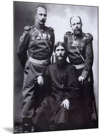 Grigori Rasputin, General Count Mikhail Putyatin and Colonel Dmitriy Lotman, 1904-1905-Karl Karlovich Bulla-Mounted Photographic Print