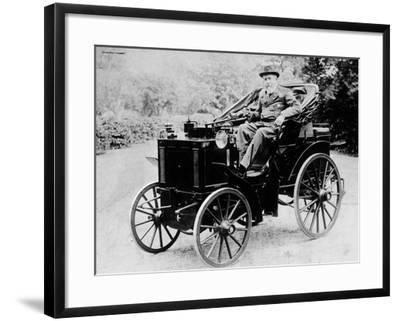 Evelyn Ellis Driving an 1895 Panhard, (1895)--Framed Photographic Print