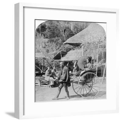 A Morning Ride in a Jinrikisha (Ricksha), Sugita, Japan, 1896-Underwood & Underwood-Framed Photographic Print