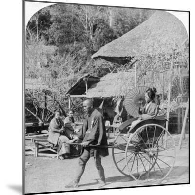 A Morning Ride in a Jinrikisha (Ricksha), Sugita, Japan, 1896-Underwood & Underwood-Mounted Photographic Print
