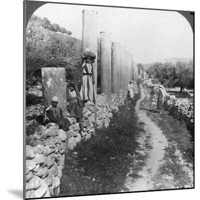 Herod's Street of Columns, Samaria, Palestine (Israe), 1905-Underwood & Underwood-Mounted Photographic Print
