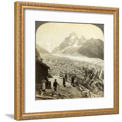 Mer De Glace from the 'Chapeau, Near Chamonix, France-Underwood & Underwood-Framed Photographic Print