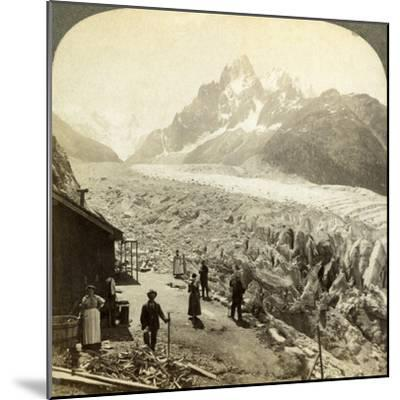 Mer De Glace from the 'Chapeau, Near Chamonix, France-Underwood & Underwood-Mounted Photographic Print