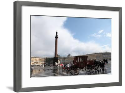 Horse-Drawn Carriage in Palace Square, St Petersburg, Russia, 2011-Sheldon Marshall-Framed Photographic Print