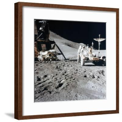 James Irwin (1930-199) with the Lunar Roving Vehicle During Apollo 15, 1971--Framed Photographic Print