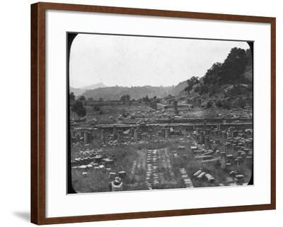 Mount Kronos and Temple of Hera, Olympia, Greece, Late 19th or Early 20th Century--Framed Photographic Print