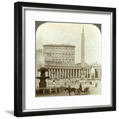 The Vatican Palace from St Peter's Square, Rome, Italy-Underwood & Underwood-Framed Photographic Print