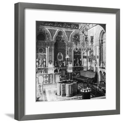 The Reception Room of a Pasha, Damascus, Syria, 1905-Underwood & Underwood-Framed Photographic Print