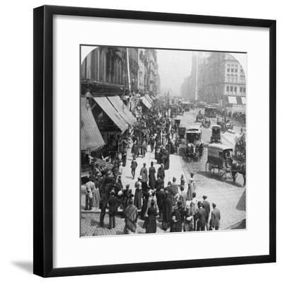 A Street Scene in Chicago, Illinois, USA, 1896-Underwood & Underwood-Framed Photographic Print