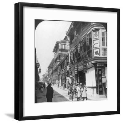 In the Street of the Tea Houses, Shanghai, China, 1901-Underwood & Underwood-Framed Photographic Print