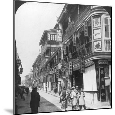 In the Street of the Tea Houses, Shanghai, China, 1901-Underwood & Underwood-Mounted Photographic Print