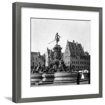 The Neptune Fountain, Nuremberg, Germany, C1900s-Wurthle & Sons-Framed Photographic Print