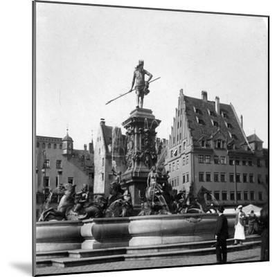 The Neptune Fountain, Nuremberg, Germany, C1900s-Wurthle & Sons-Mounted Photographic Print