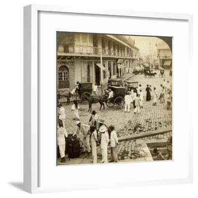 Rosario Road and Binondo Church, Manila, Philippines-Underwood & Underwood-Framed Photographic Print
