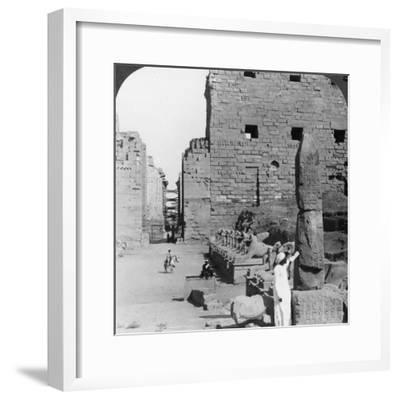 Avenue of Sacred Images after Excavation, Karnak, Thebes, Egypt, C1900-Underwood & Underwood-Framed Photographic Print